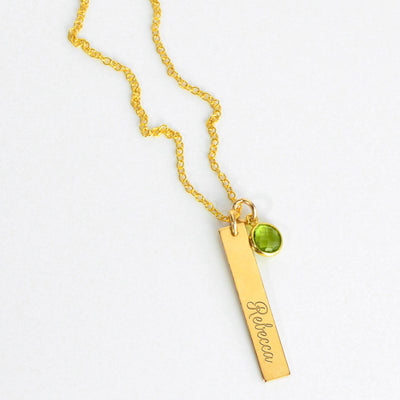 Engraved Bar Charm & Birthstone Necklace