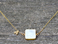 Personalized Natural Cushion White Druzy necklace