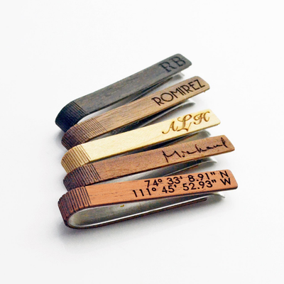 wooden tie clip with custom engraving laser engraving text engraving or actual handwriting 5 Wood Color Options