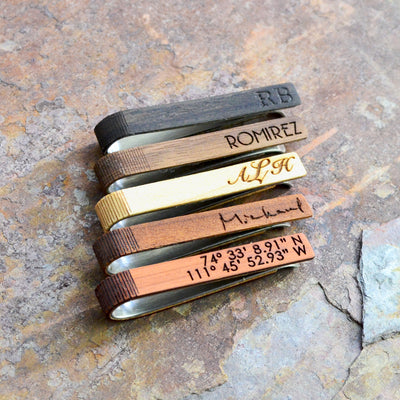 Wooden Tie Clip with Custom Engraving or Handwriting