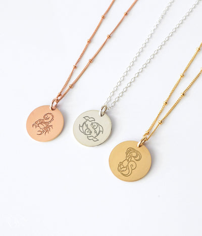 Zodiac Image Necklace - Silver, Gold or Rose Gold filled