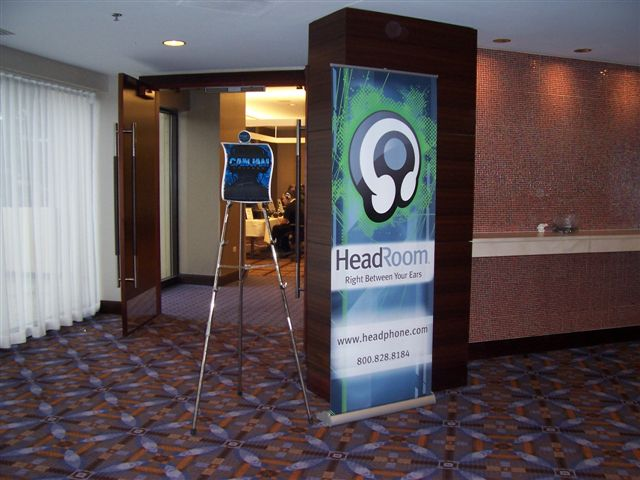 HeadRoom's CanJam room entrance with our killer standing banner.