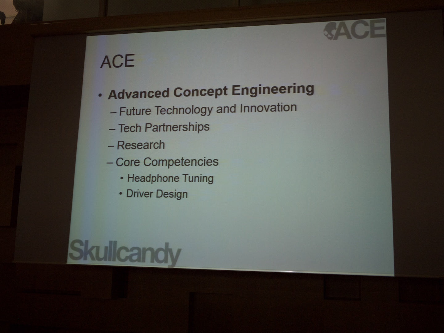 Skullcandy describes ACE - Advanced Concept Engineering