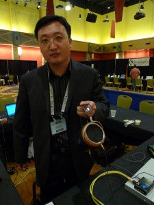 Fang displays his HE-5 orthodynamic headphone which will be available soon.