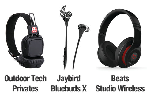 Outdoor Tech Privates, Jaybird Bluebuds X, Beats Studio Wireless