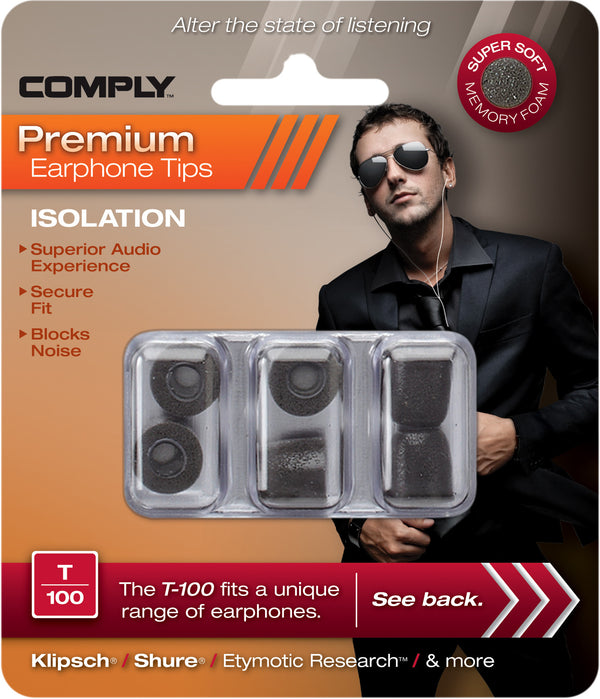 Comply T-100 Foam Tips 3-pair Black - headphone.com  - 4