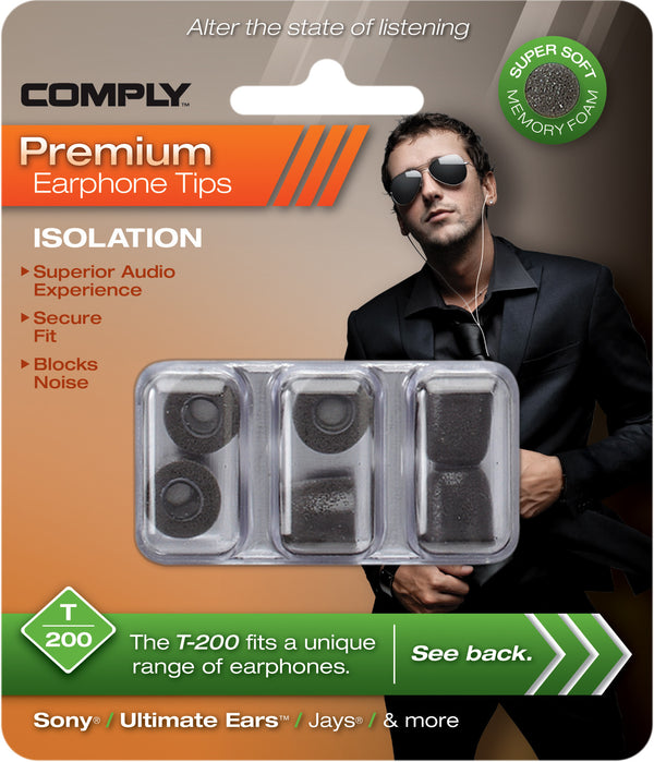 Comply T-200 Foam Tips 3-Pair Black - headphone.com  - 3