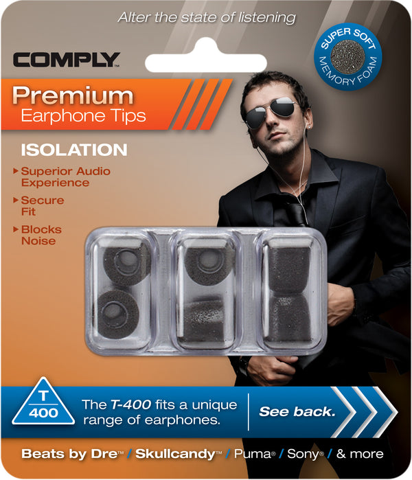 Comply T-400 Foam Tips 3-pair Black - headphone.com  - 4