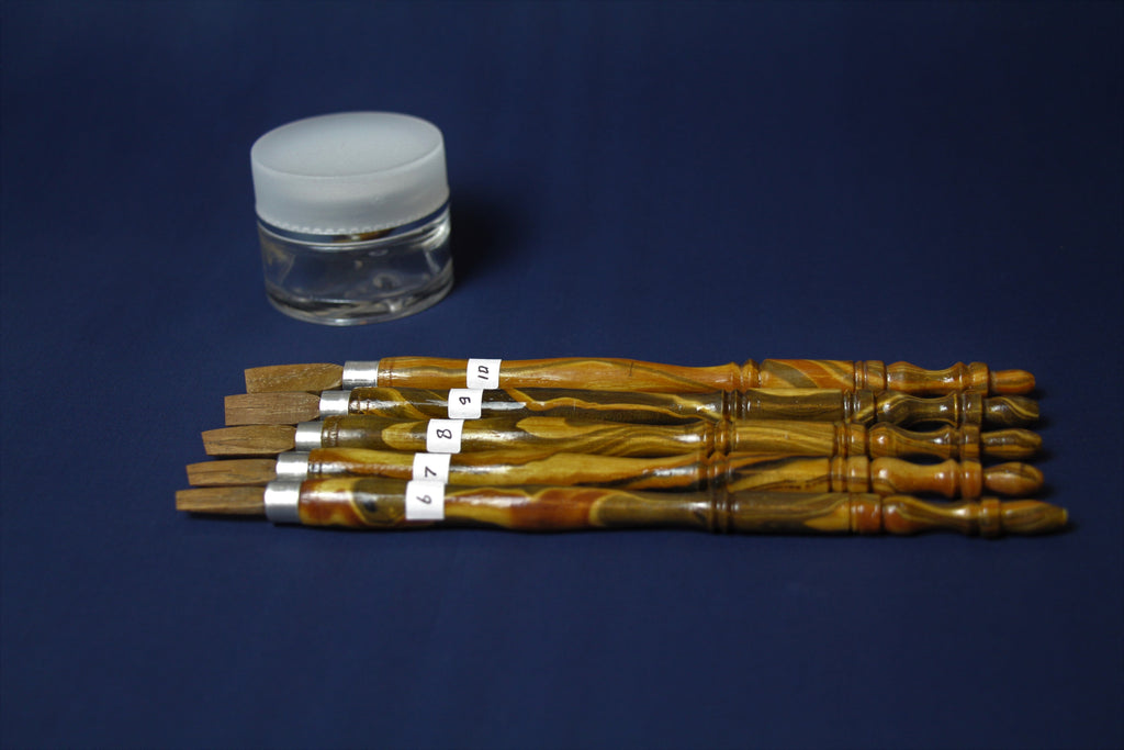 Set of 5 sonokeling wood qalams: 6 - 10 mm