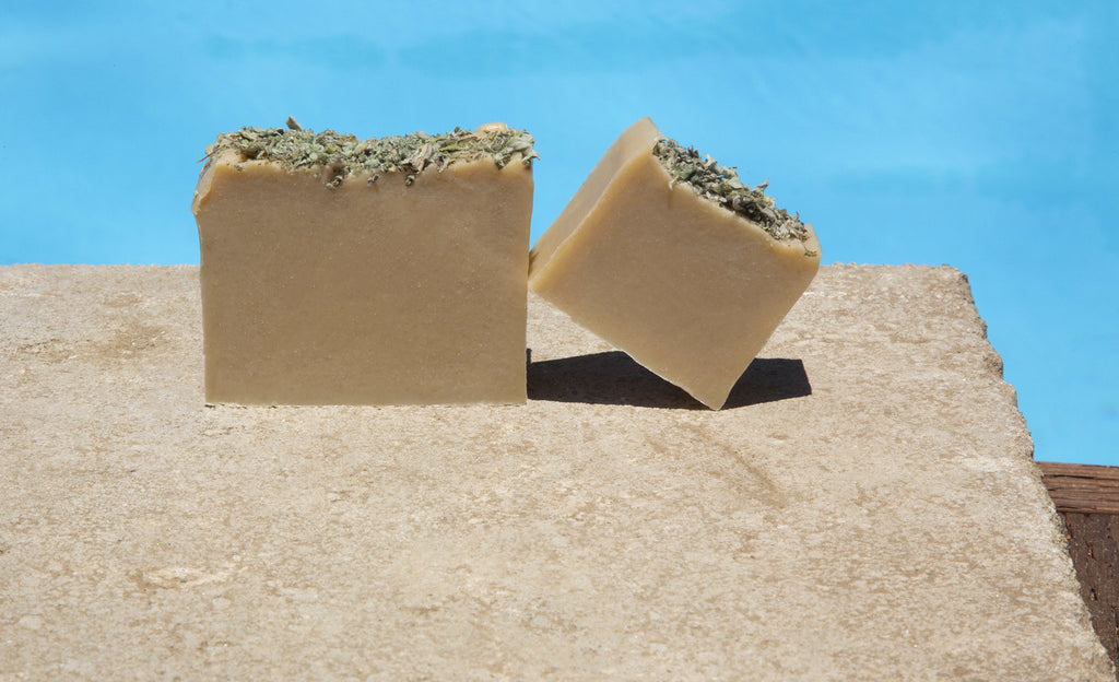 Arabian Musk Organic Soap in front of pool
