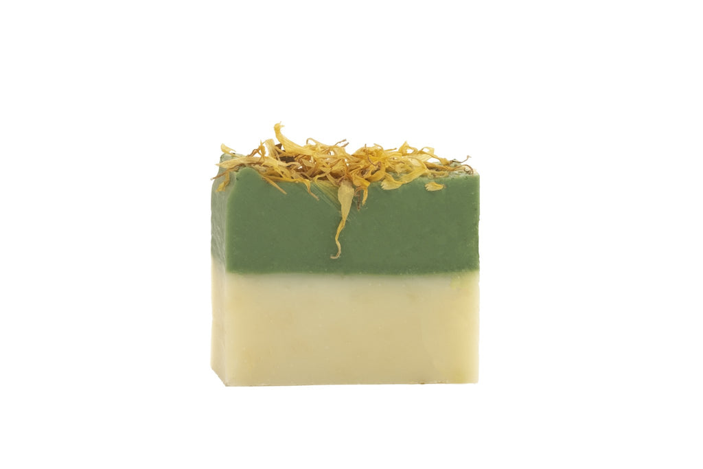Atlas Cedarwood Organic mini Soap Bar topped with Calendula Flowers