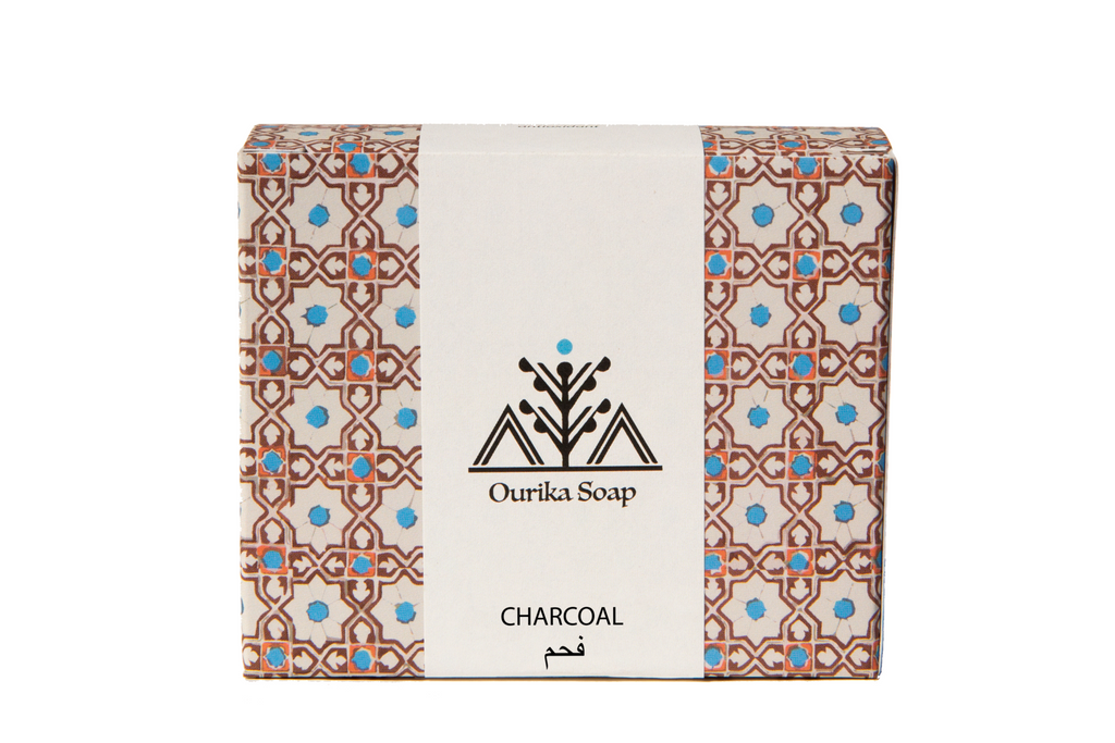 Organic Charcoal  Casablanca Soap bar  in Moroccan  Tile Packaging