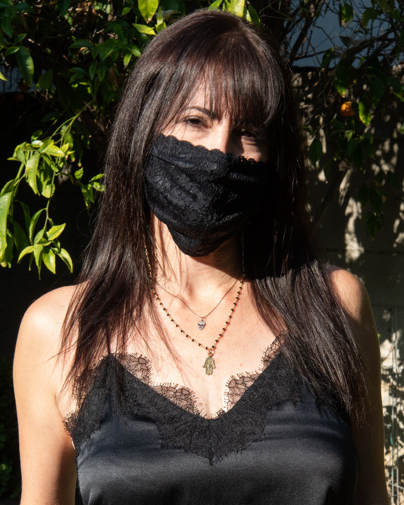 Never Say Never Pleated Face Mask- Black