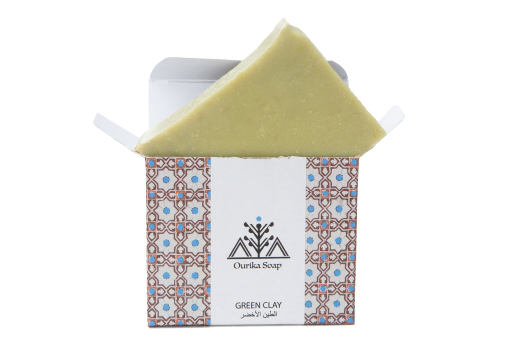Green Clay Organic Ourika Soap and its Moroccan Tile Packaging