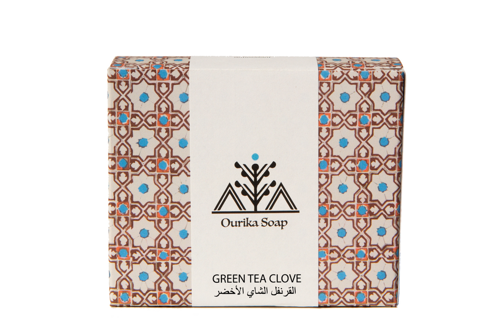 Green tea  Clove Organic Casablanca soap bar . Moroccan tile packaging