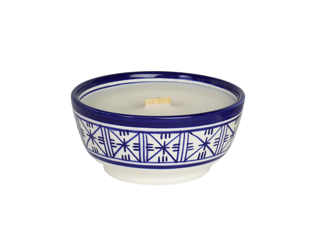 Ceramic Moroccan Candle with wood wick