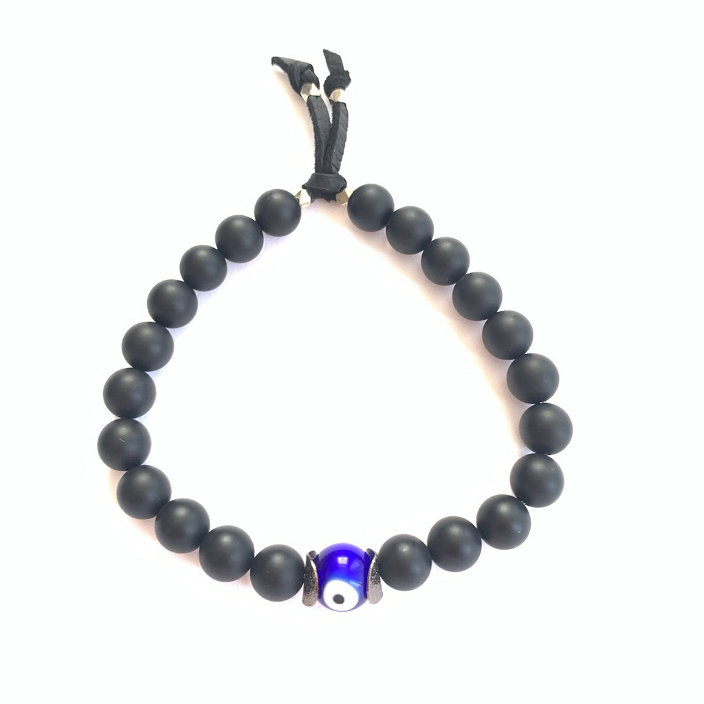 Onyx Gemstone Evil Eye Bracelet