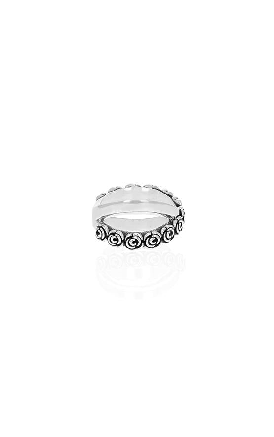 king baby rose x cross ring for women