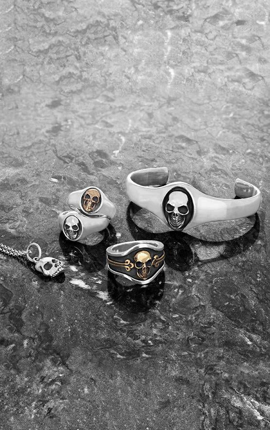 king baby skull cigar band ring