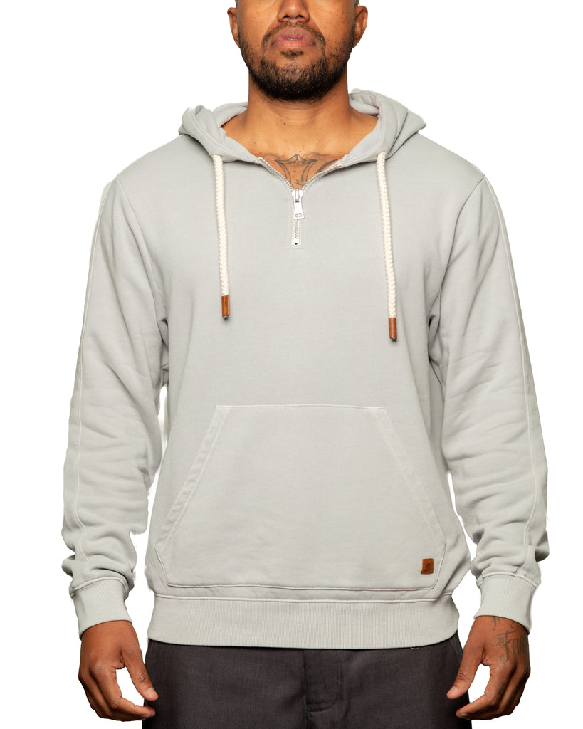 Later 1/4 Zip Spring Weight Pull Over Hoodie Heather Grey