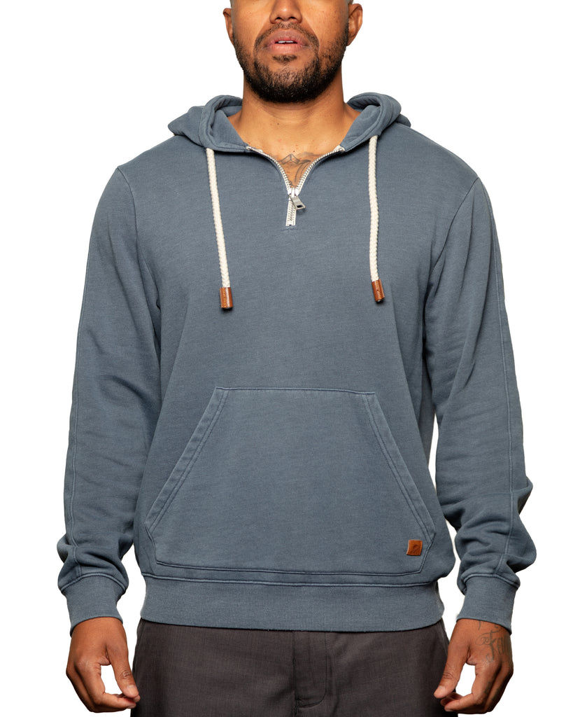 Later 1/4 Zip Spring Weight Pull Over Hoodie Midnight Navy