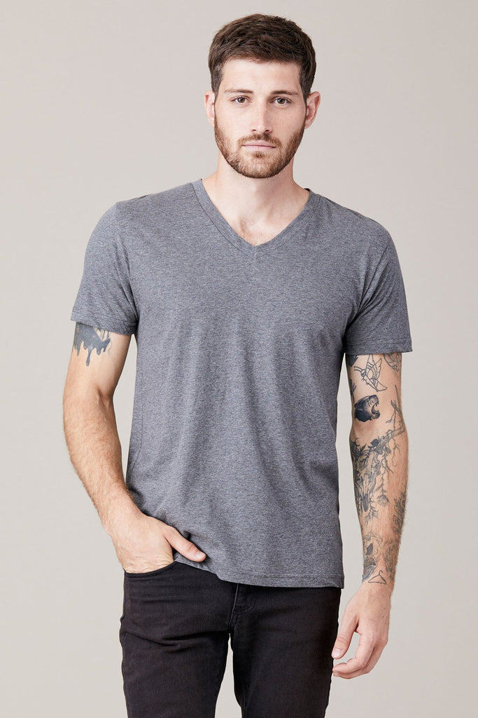 Short Sleeve V Neck Tee- Heather Grey