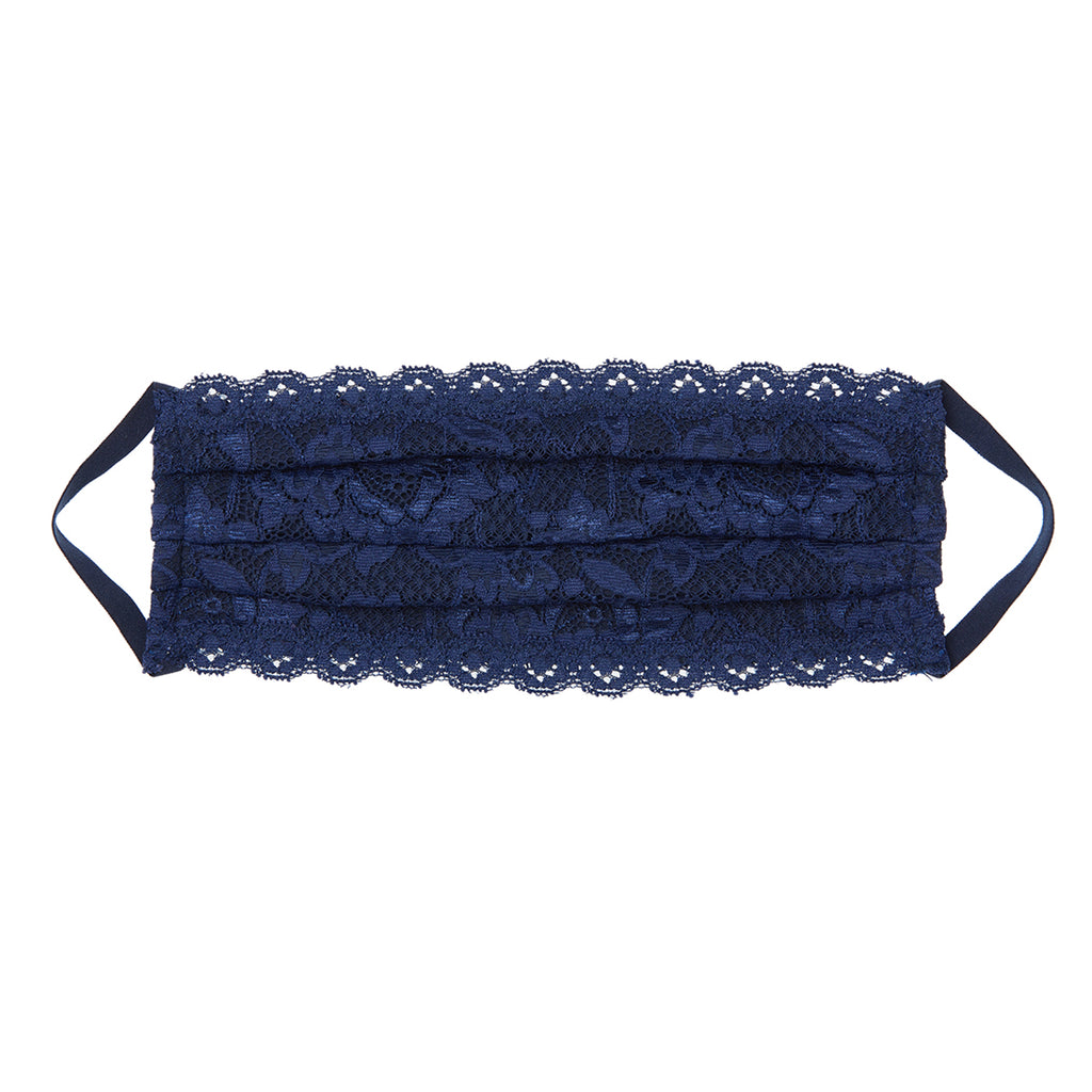 Never Say Never Pleated Face Mask- Navy