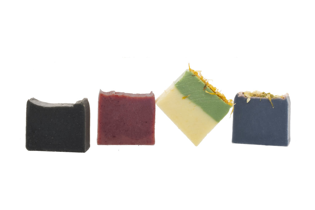 Set of 4 Organic Mini Soap Bars Charcoal Madder Root Atlas Cedarwood Mediterranean Marjoram