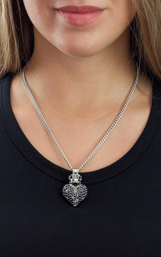 Large 3D Pave Black CZ Crowned Heart Pendant