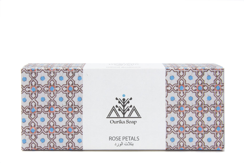 Rose Petals Marrakech Jewel Hanging Soap on a rope . Moroccan  Tile packaging