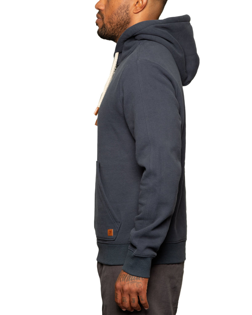 """Slater"" 1/4 Zip Fleece Hoodie Navy - Fundamental Coast"