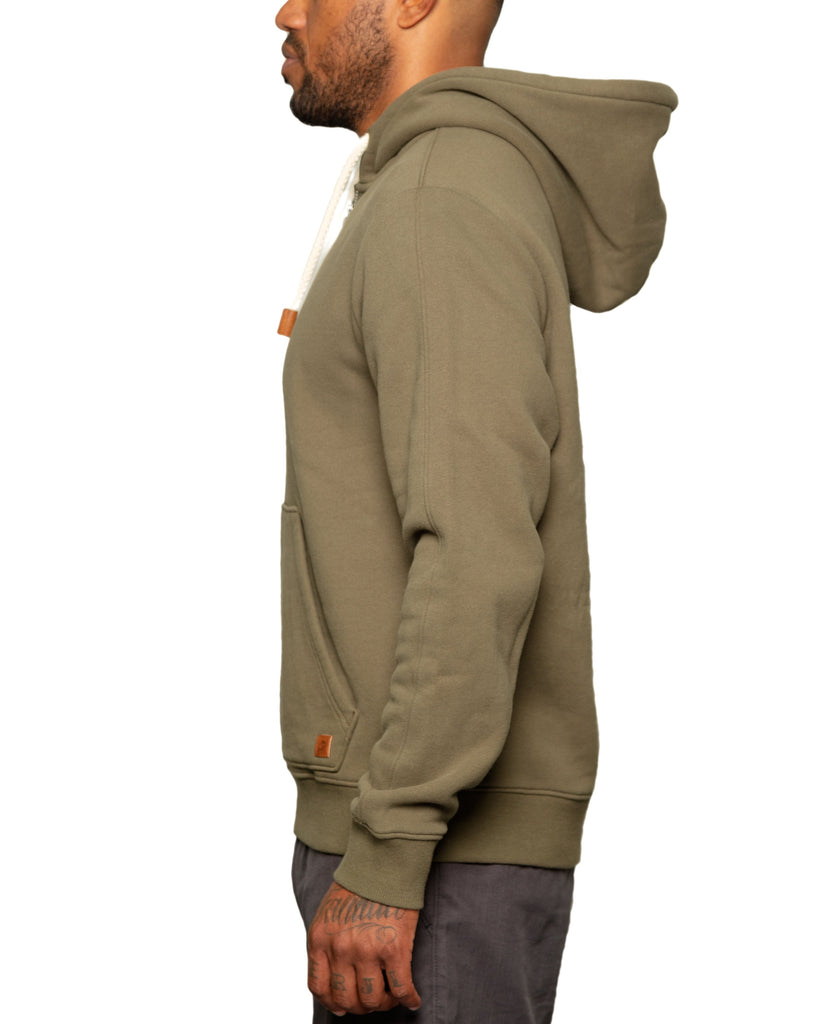 """Slater"" 1/4 Zip Fleece Hoodie Olive - Fundamental Coast"