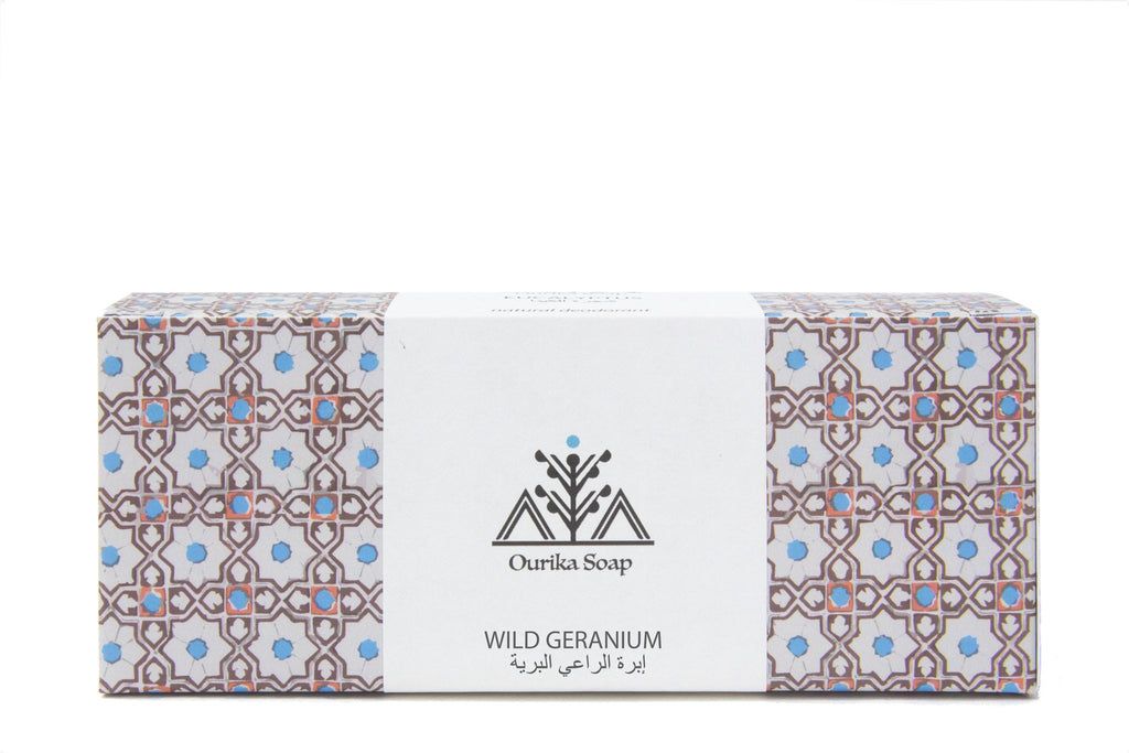 Geranium Hanging  Marrakech Soap in Moroccan Tile Packaging