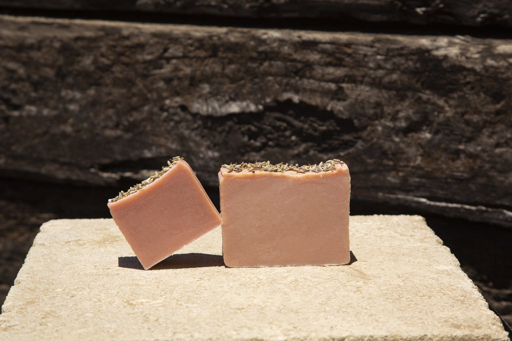 Wild Geranium Organic Casablanca Soap Bar. Exfoliating Handcrafted Moroccan Soap.  Mood Shot
