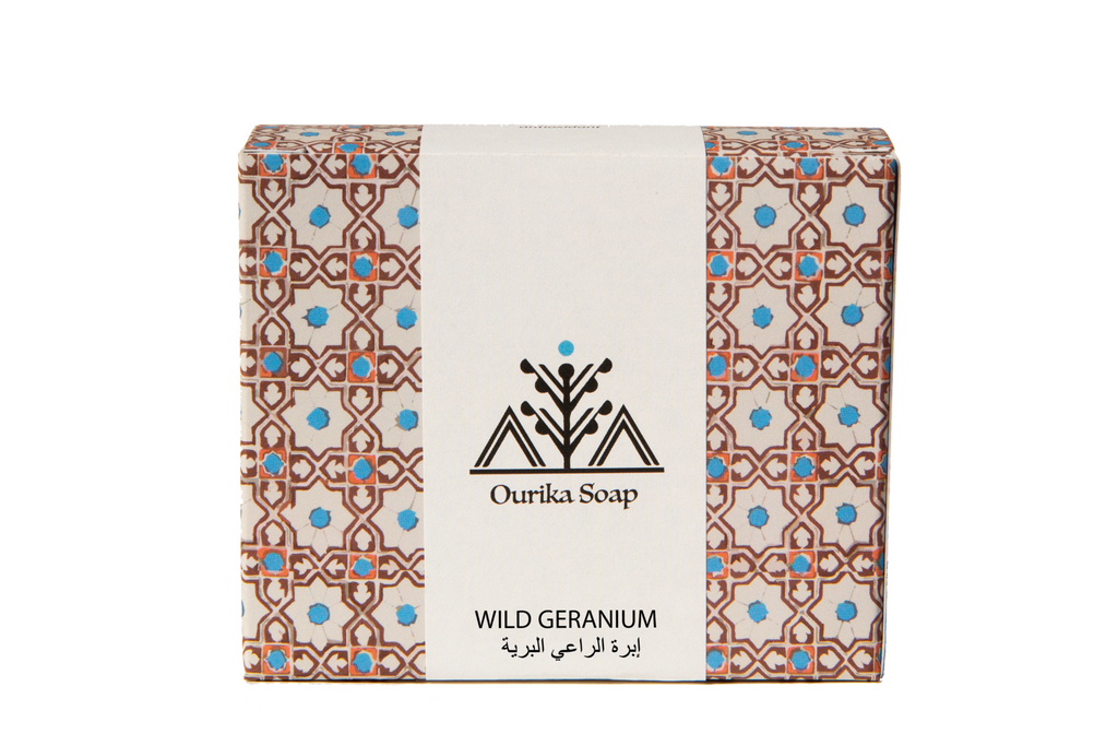 Ourika Soap Wild Geranium Organic Casablanca  Soap in Moroccan Tile  Packaging