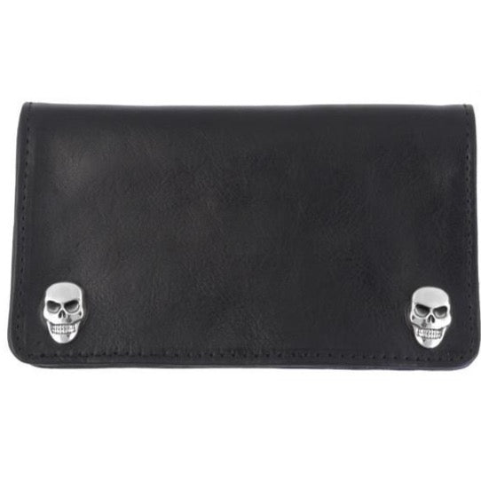 Black Leather Wallet with Skull Snaps