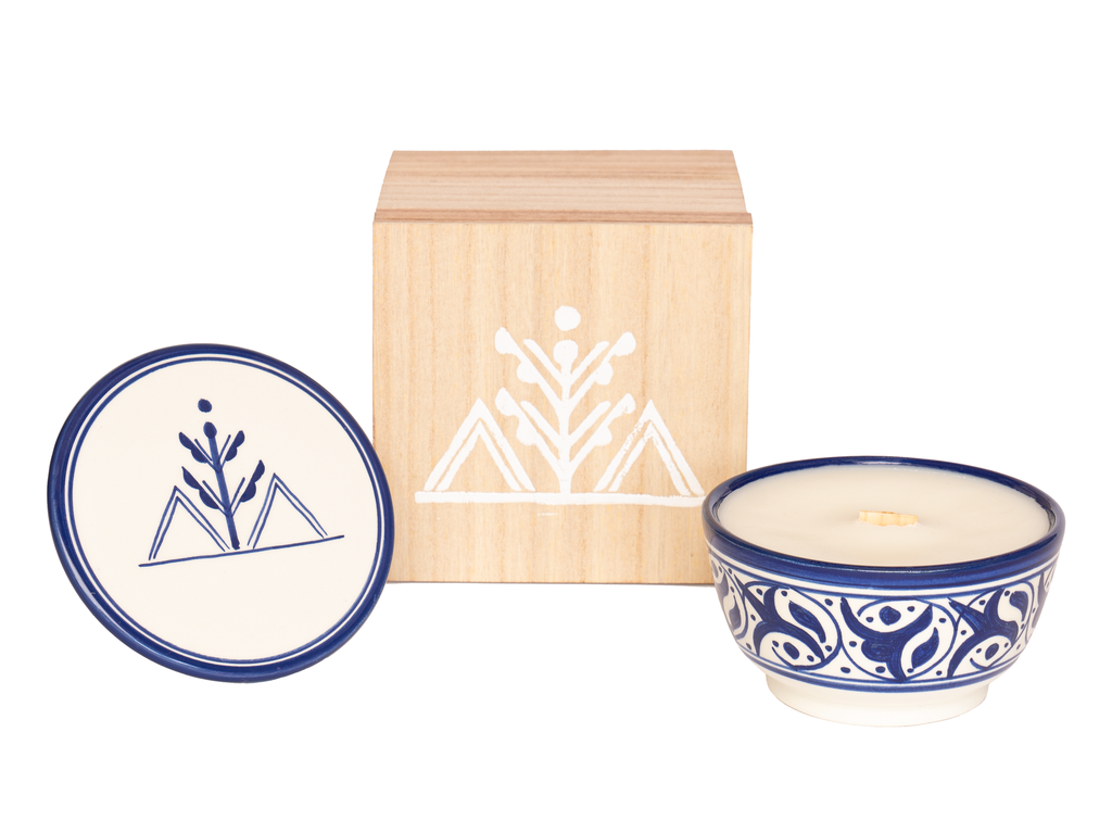 Moroccan Ceramic Candle with lid and pine wood box