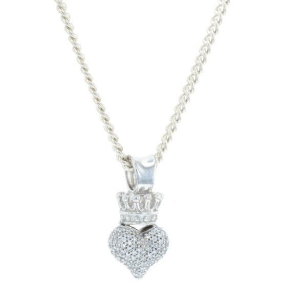 Small 3D Pave CZ Crowned Heart Pendant