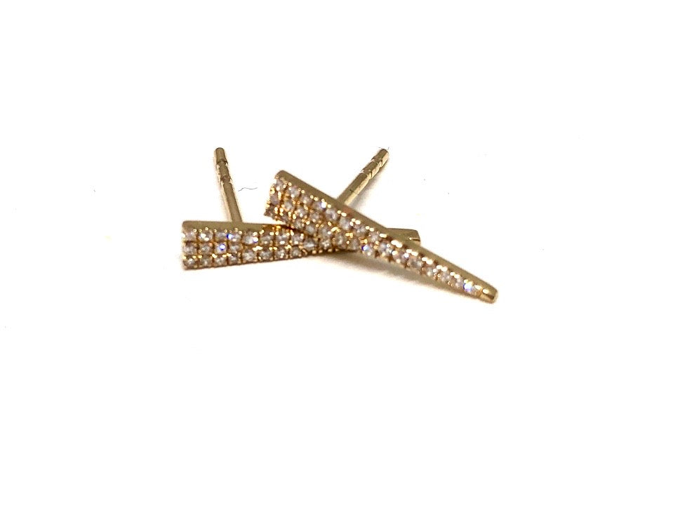 14K Gold Pavé Diamond Triangle Earrings