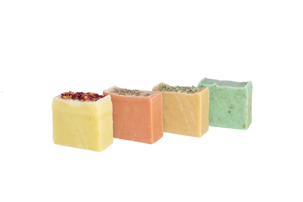 Set of 4 Ourika Soap mini Bars Rose Petals Wild Geranium Arabian Musk Bergamot