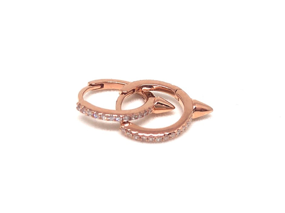14k Rose Gold & Diamond Hoops with Pyramid