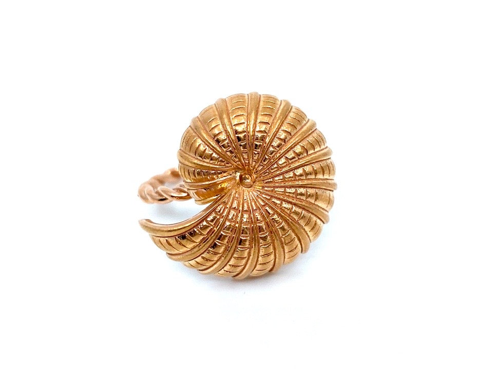 14k Rose Gold Snail Shell Ring with Twisted Band