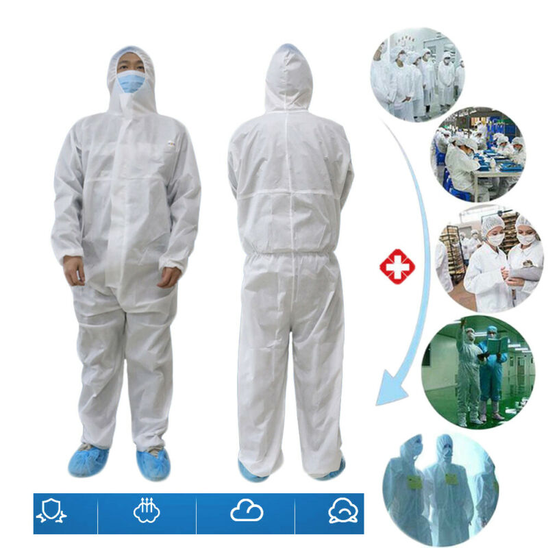 SMS Disposable coverall Safety Clothing Surgical ppe chemical Protective Overall hazmat  Suit Cleanroom Garment