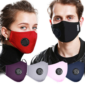 PM2.5 Anti Dust Mask with Breathing Vavels 5 Layers Protection Cotton Activated Carbon Protective Mask Reusable Mouth Masks