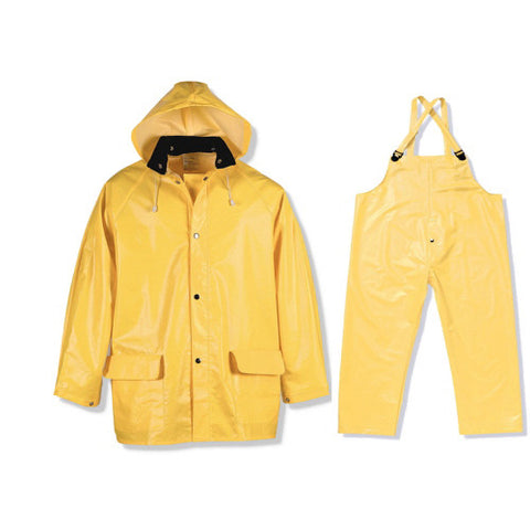 Bright yellow heavy-duty rain coat with hood and rain pants with over shoulder straps