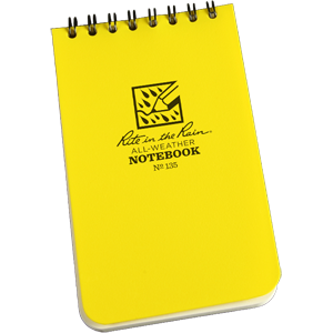 Bright yellow rite in the rain pocket note book with spiral bound top.