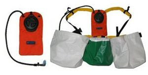 Bushpro hydration system showing pack, harness and bladder