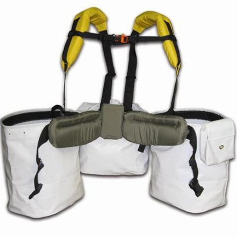 Front of tree planting harness with bags, padded strap, waist and chest buckles