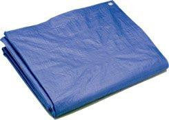 Folded Blue Poly Tarpaulin with grommets for easy fastening.