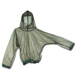 Breathable mesh bug protecting jacket for outdoors with hood in clear grey.